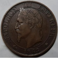 Франция 5 сантимов 1863 г. СОХРАН