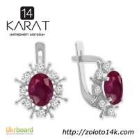 Серебряные серьги с натуральным рубином 3, 00 карат и цирконами. Новые (Код: с1007)
