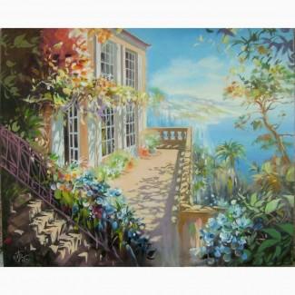 Продам картину 45*55 масло холст подрамник пейзаж море архитектура