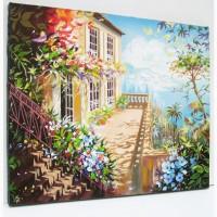 Картина маслом акрилом на холсте городской пейзаж*Италия море горы цветы Ручная работа