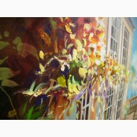 Картина 45*55 масло пейзаж*Италия, море, горы, архитектура, цветы, лето*Подарок маме жене