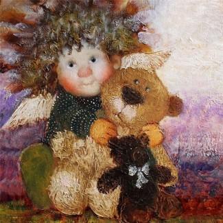 Картина в детскую Мой любимый мишка, масло, холст, рама