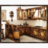 Деревянные угловые кухни под старину