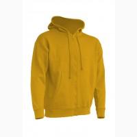 Мужской свитшот с капюшоном, на молнии, желтый цвет
