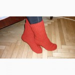 Вязанные шерстяные носочки, бесшовные, ручной работы