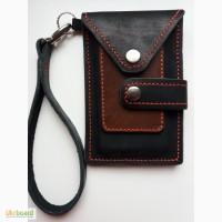 Мужской кожаный кошелек - чехол для телефона ручной работы