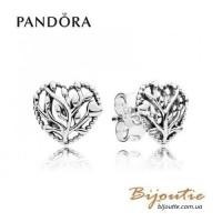 Серьги цветущие сердца ― 297085 оригинал Пандора