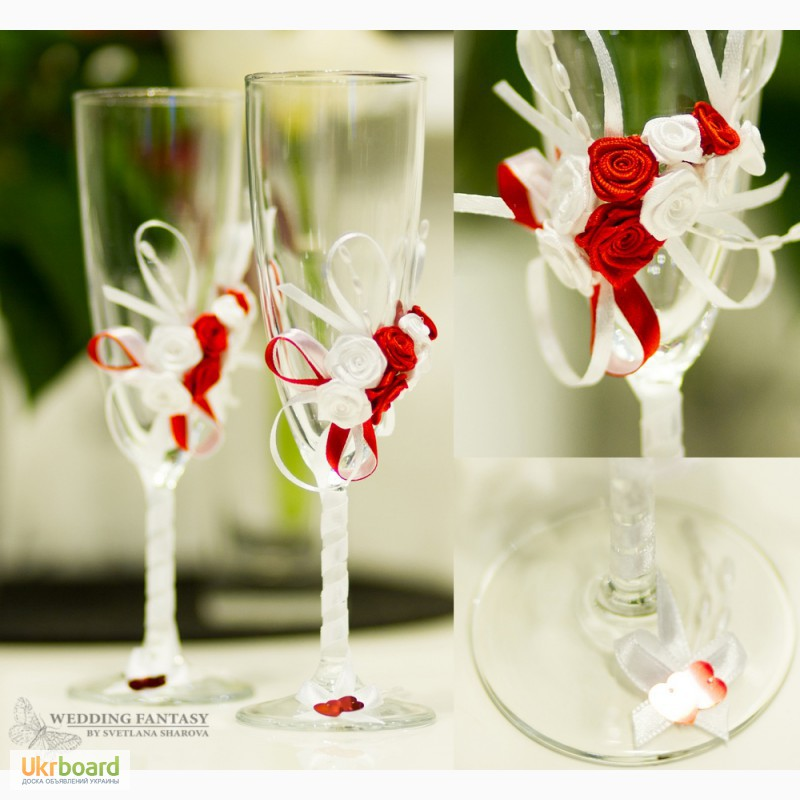 Украшение свадебных бокалов своим руками 895
