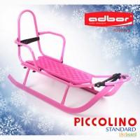 Санки Adbor Piccolino Standart со спинкой розовые