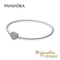 Оригинал Pandora браслет 590722CZ (жесткий - бангл) серебро 925