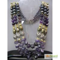 Шикарное ожерелье из аметиста, темного жемчуга и синего авантюрина, камни - натуральные