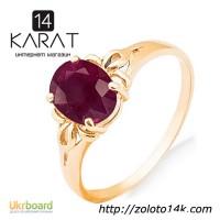 Золотое кольцо с натуральным рубином 1, 50 карат 17 мм. Желтое золото. НОВОЕ (Код: 17725)
