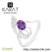 Серебряное кольцо с натуральным аметистом 0, 70 карат ...