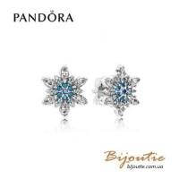 Pandora серьги блестящие снежинки 290590NBLMX
