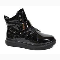 Демисезонные ботинки для девочек Солнце арт.8F085-3A black с 32-37 р