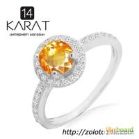 Серебряное кольцо с натуральным цитрином 0, 80 карат ...