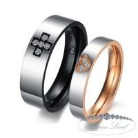 Крестик и сердце парные кольца для влюбленных из нержавеющей медицинской стали. кольцо