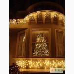 Светодиодная гирлянда бахрома, новогоднее украшение здания