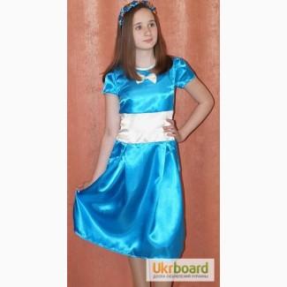 Платье голубое с бантом 11-12 лет