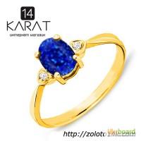 Золотое кольцо с натуральным сапфиром и бриллиантами 0, 04 карат 16, 5 мм. Желтое золото