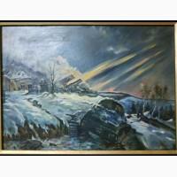 Продам картину маслом (военная тематика, танк, война, соцреализм)