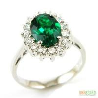 Шикарное серебряное кольцо с изумрудом 2,50 карат и цирконами. НОВОЕ (Код: 00113)
