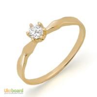 Золотое кольцо с бриллиантом 0,15 карат. НОВОЕ (Код: 13044)