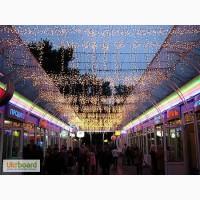 Световое оформление фасадов, новогоднее уличное оформление, монтаж светодиодных гирлянд