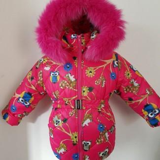 Детские зимние тёплые комбинезоны для девочек 1-5 лет Цветы и птицы
