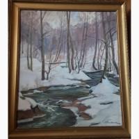 Зима в лісі 70/80 полотно олія, худ.Михайло Сапатюк