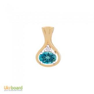 Золотой кулон с топазом и бриллиантом 0,02 карат. НОВЫЙ Натуральные камни!