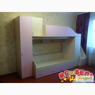 Детская двухъярусная кровать с пеналами, тумбой и лестницей-комодом (ал7) Merabel