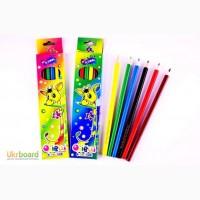 Набор цветных карандашей 6, 12 цветов в картонной коробке