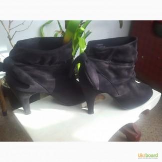 Ботильоны ботиночки замшевые с бантиками 40 размер