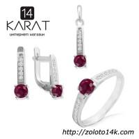 Серебряные набор с натуральным рубином 2, 00 карат. Кольцо, серьги и кулон. Новые Код: 1008