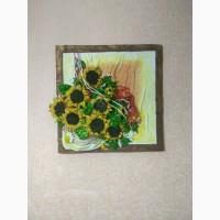 Продам картину из натуральной кожи Яркие солнышки