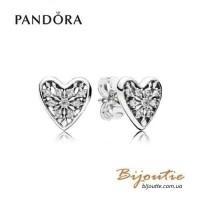 Серьги PANDORA сердце зимы ― 296368CZ