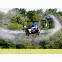 Услуги вертолета - обработка пшеницы от клопа черепашки