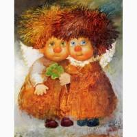 Картина на подарок на День рождения Рыжие ангелочки
