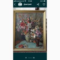 Картина натюрморт маслом «Вазы с цветами» до 1940года