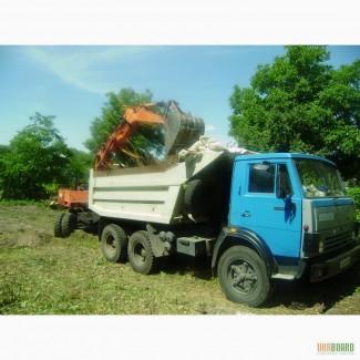 Уборка участка Киев. Расчистка участка от деревьев. Корчевка и вывоз пней.