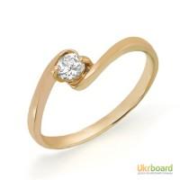 Золотое кольцо с бриллиантом 0,15 карат. НОВОЕ (Код: 13042)