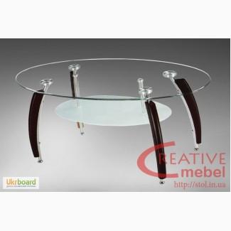 Овальный журнальный стол из стекла