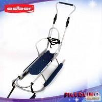Санки Adbor PICCOLINO Xdrive со спинкой + Ручка (с регулировкой) серебристые