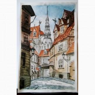Картина акварель Старый город