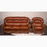 Кожаный диван с креслом Женове