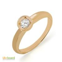 Золотое кольцо с бриллиантом 0,15 карат. НОВОЕ (Код: 13016)