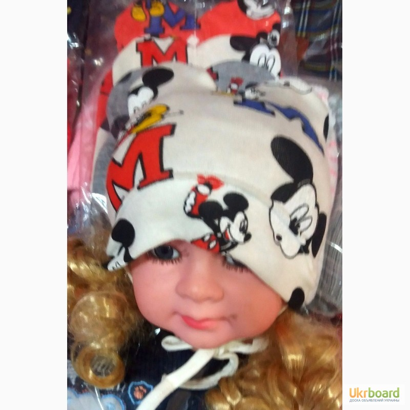 Фото 2. Детские демисезонные шапочки Микки с ушками на флисе от 0 до 1 года