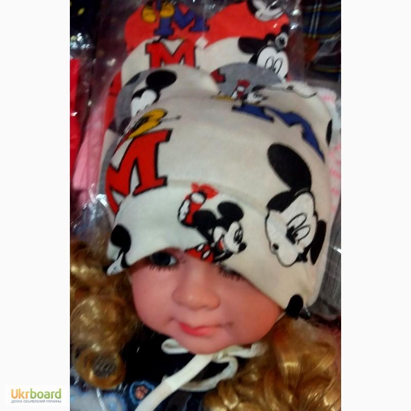 Фото 3. Детские демисезонные шапочки Микки с ушками на флисе от 0 до 1 года