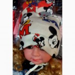 Детские демисезонные шапочки Микки с ушками на флисе от 0 до 1 года